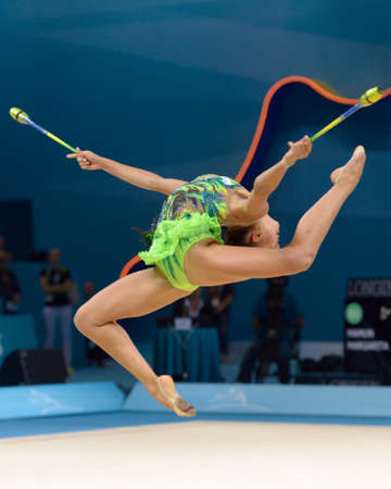 KIEV, UKRAINE - AUGUST 29, 2013: Margarita Mamun of Russia in action during the 32nd Rhythmic Gymnastics World Championships in Kiev, Ukraine on August 29, 2013