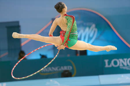 deng: KIEV, UKRAINE - AUGUST 28, 2013:  Senyue Deng of China in action during the 32nd Rhythmic Gymnastics World Championships in Kiev, Ukraine on August 28, 2013 Editorial