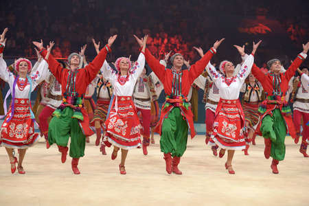 KIEV, UKRAINE - SEPTEMBER 1: Dancers in national costumes performs during closing ceremony of the 32nd Rhythmic Gymnastics World Championships in Kiev, Ukraine on September 1, 2013