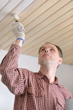 Contractor varnishing wooden panels on a ceiling photo