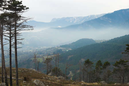 ranges: Aerial view to mountain ranges in Crimea, Ukraine