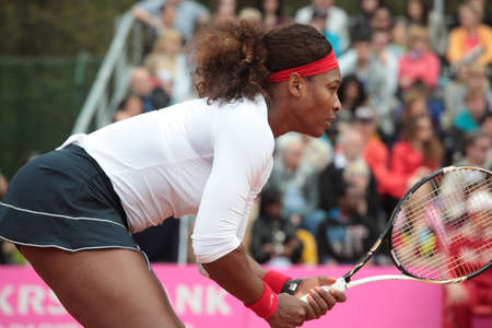Kharkov, Ukraine - April 21, 2012: Serena Williams, USA in the match with Elina Svitolina during Fed Cup tie between USA and Ukraine in Superior Golf and Spa Resort, Kharkov, Ukraine at April 21, 2012