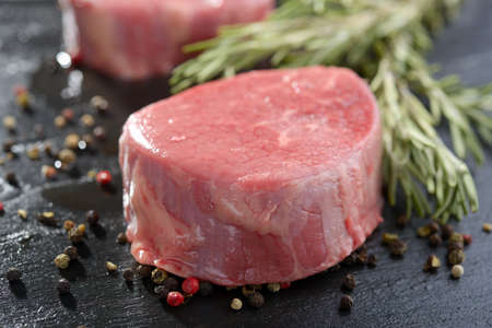 black angus cattle: Raw Angus steak and spices