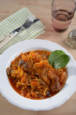 Bigos, the traditional Polish stew of cabbage and meat photo