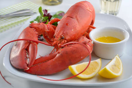 Boiled lobster on a plate with butter, lemon, and lettuce Фото со стока