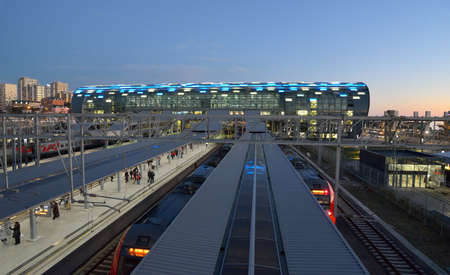 Adler, Sochi, Russia - February 12, 2014: High-speed trains on the railway station of Adler. New passenger terminal was built for the XXII Winter Olympics