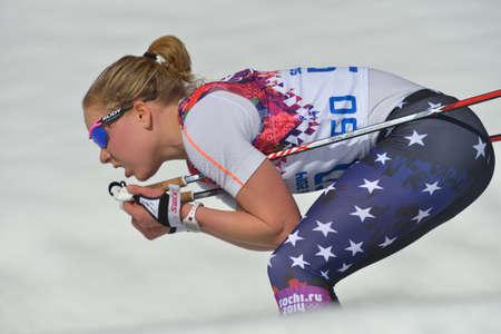 ida: Krasnaya Polyana, Sochi, Russia - February 13, 2014: Ida Sargent of USA in the Ladies 10km Classic ski race during XXII Winter Olympics