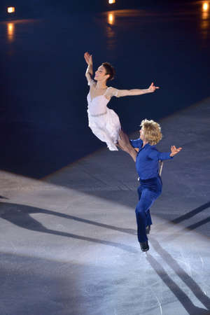 Moscow, Russia - February 24, 2014: Meryl Davis and Charlie White in action during Gala concert of Olympic champions in figure skating