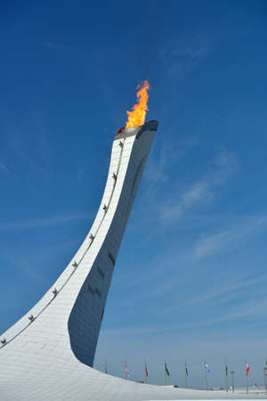 olympic symbol: Sochi, Russia - February 12, 2014  Olympic Flame of XXII Winter Olympics in Olympic Park  Russia hosts the second Olympic Games in history