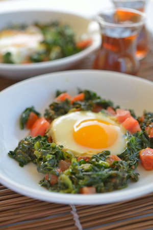 Fried egg with spinach and tomato photo