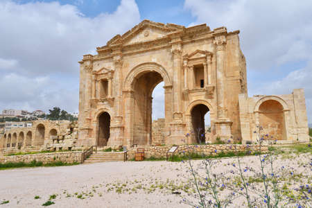 tentative: Jerash, Jordan - March 18, 2014  Hadrians arch in the ancient city of Jerash  Since 2004, Jerash Archaeological City is included in UNESCO Tentative List Editorial