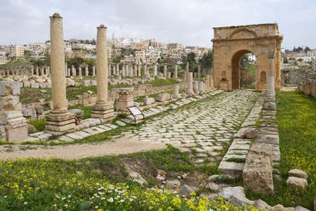 tentative: Jerash, Jordan - March 18, 2014  North Tetrapylon in the ancient city of Jerash  Since 2004, Jerash Archaeological City is included in UNESCO Tentative List Editorial