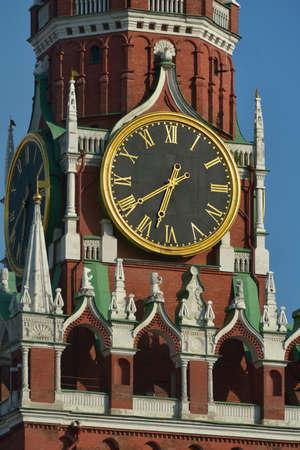 spasskaya: Clock on the Spasskaya Tower of Kremlin, Moscow, Russia