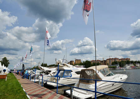 aftermarket: Dolgoprudny, Moscow region, Russia - July 4, 2014  First day of 5th Yachts and Boats Fair  Water World   It