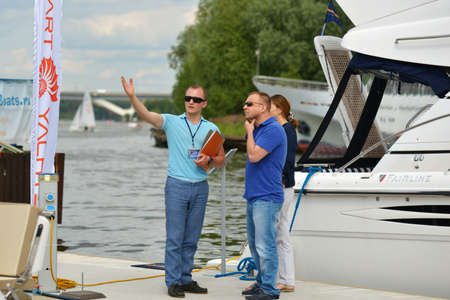 resale: Dolgoprudny, Moscow region, Russia - July 4, 2014  People on the 5th Yachts and Boats Fair  Water World   It