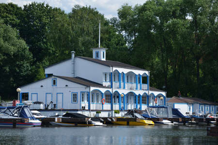 resale: Dolgoprudny, Moscow region, Russia - July 4, 2014  First day of 5th Yachts and Boats Fair  Water World   It