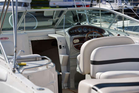 resale: Dolgoprudny, Moscow region, Russia - July 4, 2014  Interior of a boat exposed on the 5th Yachts and Boats Fair  Water World   It Editorial