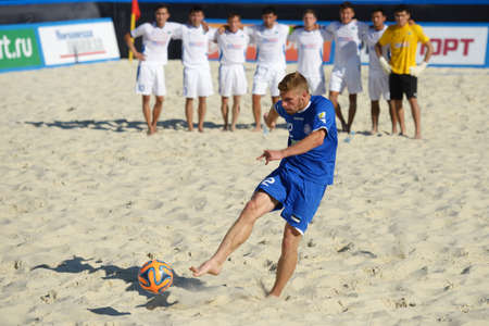 shootout: Moscow, Russia - July 13, 2014  Ragnar Rump of Estonia performs penalty shoot-out in the match with Kazakhstan during Moscow stage of Euro Beach Soccer League  Kazakhstan won 3 2 after penalty shoot-out