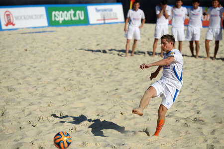 shootout: Moscow, Russia - July 13, 2014  Alexandr Bogomolov of Kazakhstan performs penalty shoot-out in the match with Estonia during Moscow stage of Euro Beach Soccer League  Kazakhstan won 3 2 after penalty shoot-out