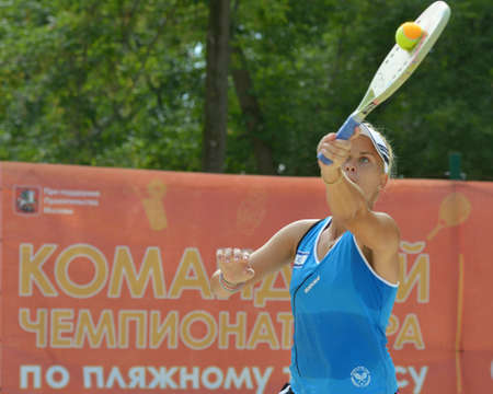 Moscow, Russia - July 17, 2014  Alona Pushkarevsky of Israel in the match with Lithuania during ITF Beach Tennis World Team Championship  Lithuania won 3-0