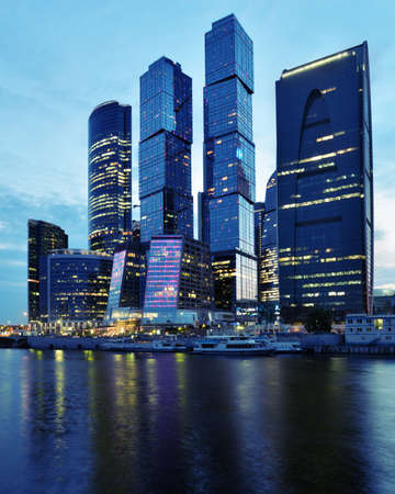 Moscow, Russia - June 30, 2014  Moscow international business center  Moscow City  in evening  The construction started in 1995, costs for the present about  12 billions, and have to be finished in 2017
