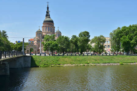 annunciation: Kharkov, Ukraine - June 5, 2014  Annunciation Cathedral in a sunny day  Built in 1901 by Michael Lovtsov, now it Editorial