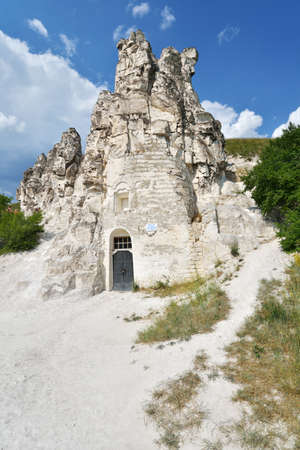 region sicilian: Divnogorie, Voronezh region, Russia - June 8, 2014  People near the cave church of Sicilian Icon of the Mother of God  The church was found in XVII century, and last time restored in mid 1990s