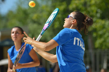 Moscow, Russia - July 20, 2014  Federica Bacchetta  in front  and Sofia Cimatti of Italy in the final match against Brazil during ITF Beach Tennis World Team Championship  Italy won 2-0