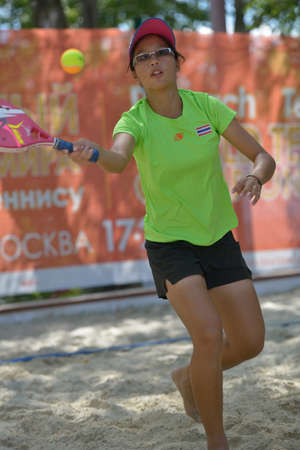 rada: Moscow, Russia - July 20, 2014  Rada Manataweewat of Thailand in the match against Israel during ITF Beach Tennis World Team Championship  Israel won 2-1