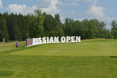 Tseleevo, Moscow region, Russia - July 24, 2014: M2M Russian Open sign in the Tseleevo Golf & Polo Club. This international golf tournament is the stage of the European Tour