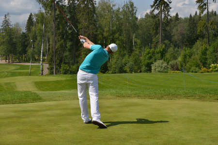 Tseleevo, Moscow region, Russia - July 24, 2014: Roope Kakko of Finland in action in the Tseleevo Golf & Polo Club during the M2M Russian Open. This international golf tournament is the stage of the European Tour