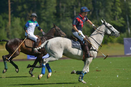 Tseleevo, Moscow region, Russia - July 26, 2014  Match British Schools - Moscow Polo Club during the British Polo Day  Moscow Polo Club won 7-6