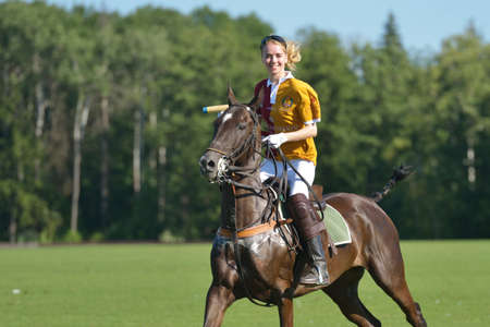 Tseleevo, Moscow region, Russia - July 26, 2014  Aliona Chekhova of Tseleevo Polo club after the match against the Oxbridge polo team during the British Polo Day  Oxbridge won 5-4