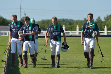 Tseleevo, Moscow region, Russia - July 26, 2014  Oxbridge Polo Team after the match against the Tseleevo Polo Club during the British Polo Day  Oxbridge won 5-4 Editorial