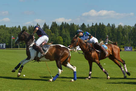 Tseleevo, Moscow region, Russia - July 26, 2014  Match British Schools - Moscow Polo Club during the British Polo Day  Moscow Polo Club won 7-6 Editorial