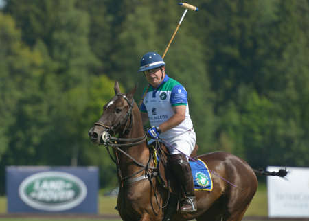 Tseleevo, Moscow region, Russia - July 26, 2014  Alexis Rodzianko of Moscow Polo Club in the match against the team of British Schools during the British Polo Day  Moscow Polo Club won 7-6 Editorial
