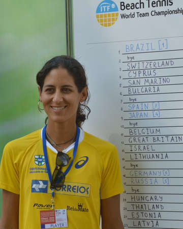 rankings: Moscow, Russia - July 17, 2014  Joana Corez of Brazil against draw board on the Beach Tennis World Team Championship  Cortez is No 1 in the world rankings Editorial