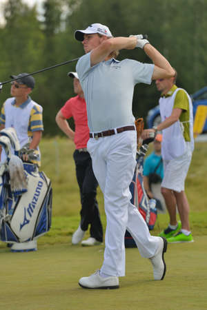 Tseleevo, Moscow region, Russia - July 26, 2014  Thomas Pieters of Belgium in action in the Tseleevo Golf   Polo Club during the M2M Russian Open  This international golf tournament is the stage of the European Tour
