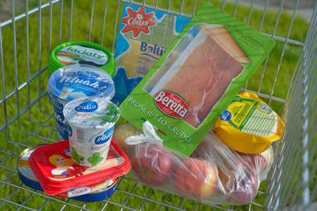 imposed: Novosibirsk, Russia - August 8, 2014  Foods imported to Russia from Europe in the shopping cart  Russia will ban food imports from countries that have imposed or supported sanctions against Russia