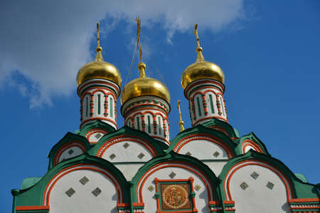 Moscow, Russia - July 6, 2014  Golden domes of the Church of St  Nicholas in Khamovniki  Built in 1679-1682, the church is a federal listed memorial building