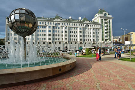 novosibirsk: Novosibirsk, Russia - July 30, 2014: People near the fountain in the city center. Novosibirsk it the 3rd largest city in Russia by population Editorial