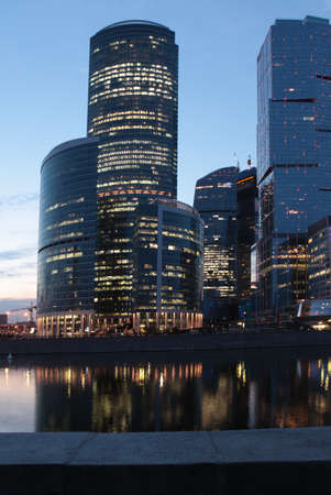 international business center: Moscow, Russia - June 5, 2012: Moscow international business center Moscow City in evening. The construction started in 1995, costs for the present about $12 billions, and have to be finished in 2017