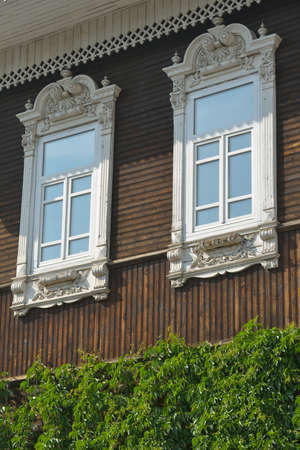 novosibirsk: Decorated windows of the old mansion in Novosibirsk, Russia