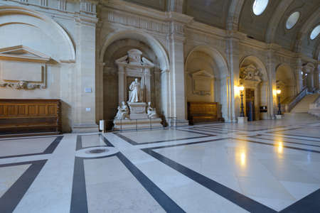 Paris, France - September 13, 2013: Interior of Palace of Justice with the statue of Pierre-Antoine Berryer. The statue designed by Chapu was erected in 1879 in memory of one of the greatest lawers of Palace Editorial