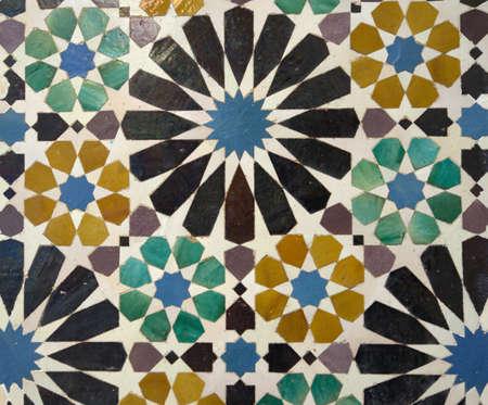 Decorative mosaics in Alhambra palace, Granada, Spain