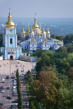 Kiev, Ukraine - September 1, 2013: Aerial view to the St. Michaels Golden-Domed Monastery from the belfry of St. Sophia. The monastery was reconstructed after the demolition of 1935