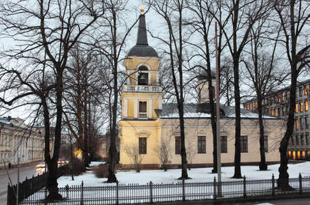 engel: Helsinki, Finland - January 12, 2012: View to the Holy Trinity church from the Kirkkokatu. The church was built in the neo-classical style in 1826 under the direction of the architect Carl Ludvig Engel Editorial