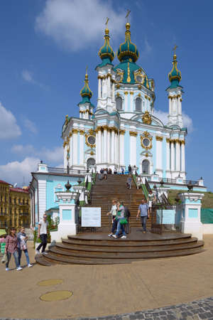bartolomeo rastrelli: Kiev, Ukraine - September 1, 2013: Tourists near the St. Andrews church in a sunny day. The church was built in 1747 by design of Bartolomeo Rastrelli