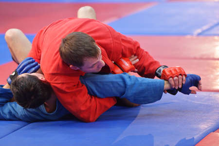 wrestlers: Novosibirsk, Russia - October 16, 2014: Unidentified sambo wrestlers during the open training. The event aimed to promote the MMA Friendship Cup which took place on November 8