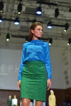 classics: Novosibirsk, Russia - November 15, 2014: Model dressed from Joseph collection on the Grand defile of Novosibirsk Fashion Week. The event was held under the motto High Fashion & High Classics